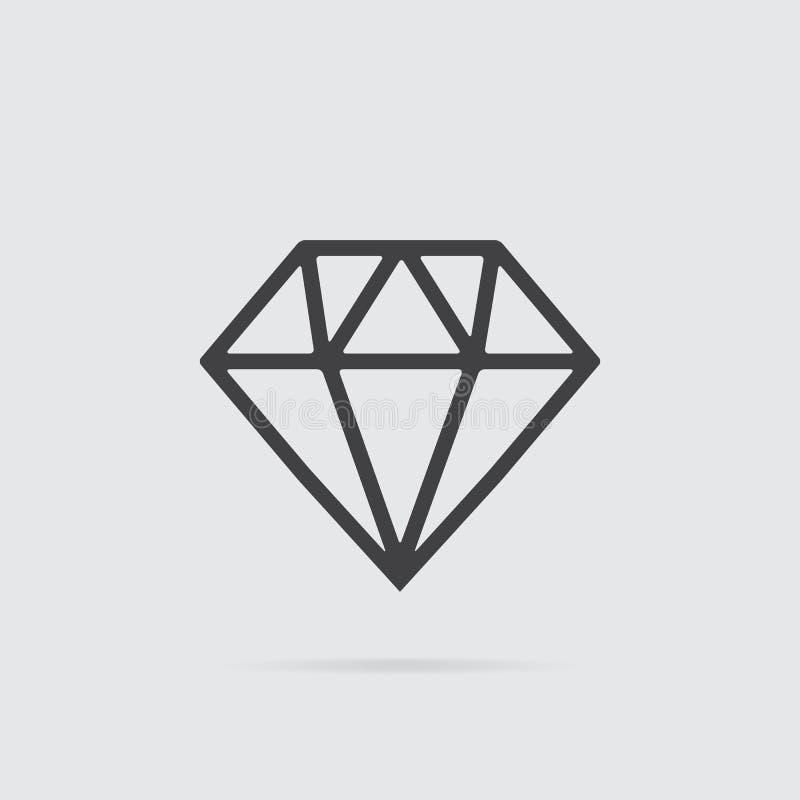 Diamantpictogram in vlakke die stijl op grijze achtergrond wordt geïsoleerd royalty-vrije illustratie