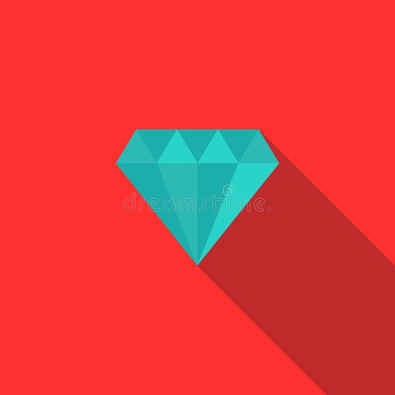 Diamantpictogram, vlakke stijl vector illustratie