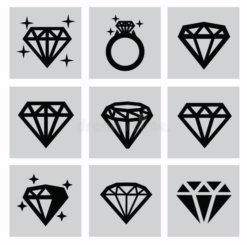 Diamantpictogrammen stock illustratie
