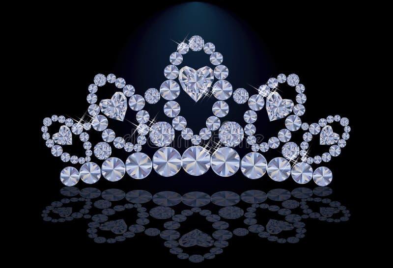 Diamantprincessdiadem med hjärtor royaltyfri illustrationer