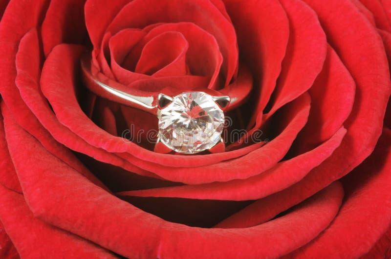 Diamantring auf Rot stieg lizenzfreie stockbilder