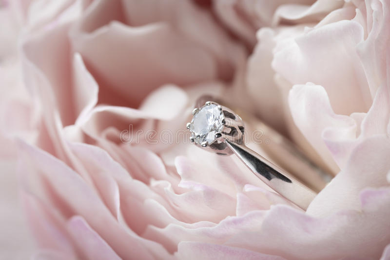 Diamantring in einer Rose lizenzfreie stockbilder