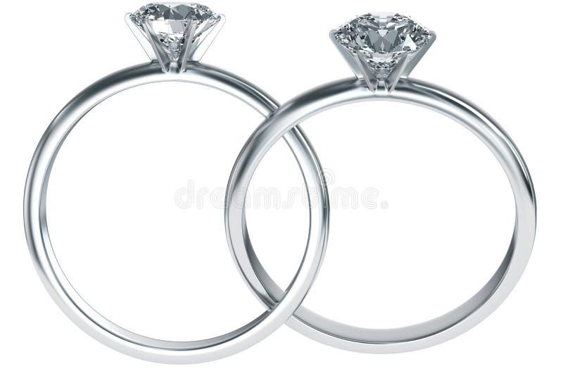 Diamantringe ineinandergegriffen lizenzfreie abbildung