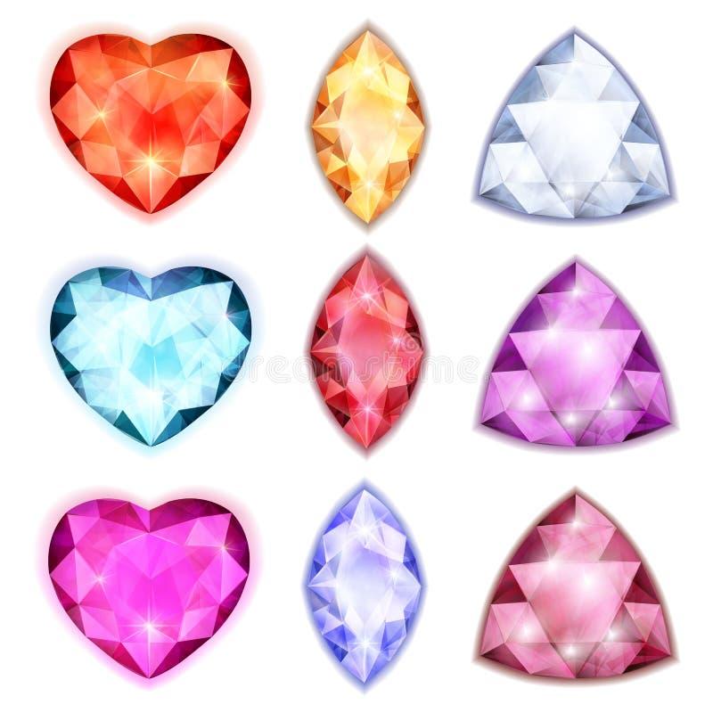 Diamants avec l'éclat des formes et de l'illustration de couleurs différentes illustration stock