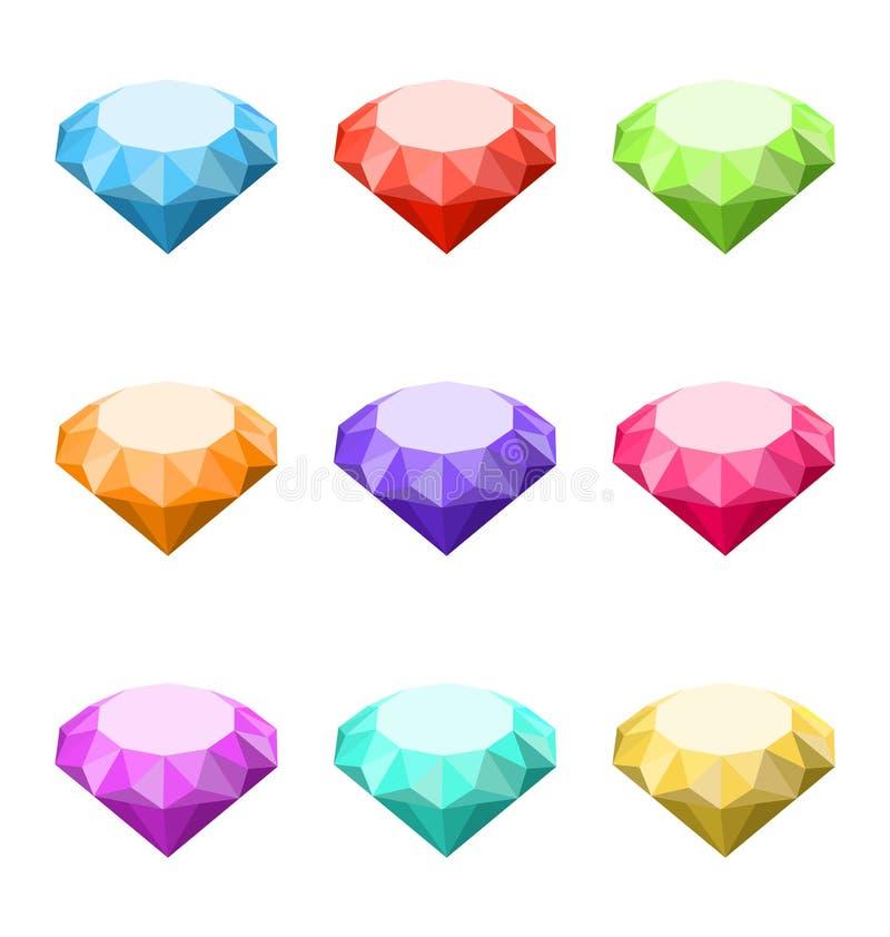 Diamants colorés de collection d'isolement sur le fond blanc illustration libre de droits