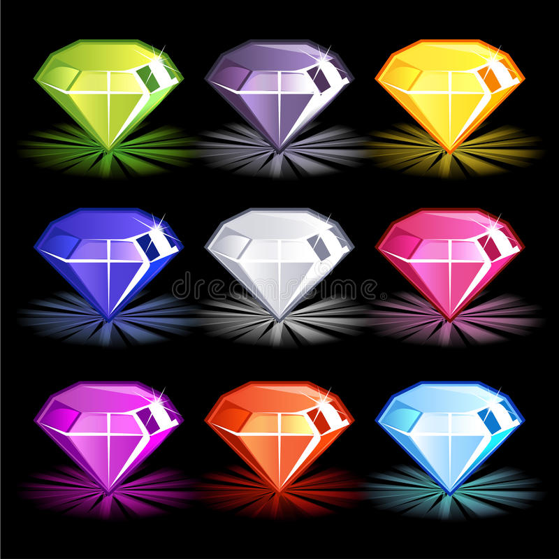 Diamants colorés lumineux de bande dessinée, illustration stock
