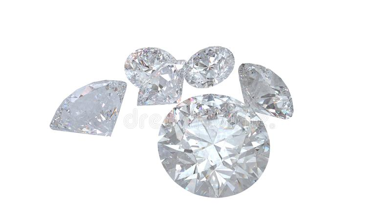 Diamants d'isolement sur le modèle blanc du rendu 3D photo stock