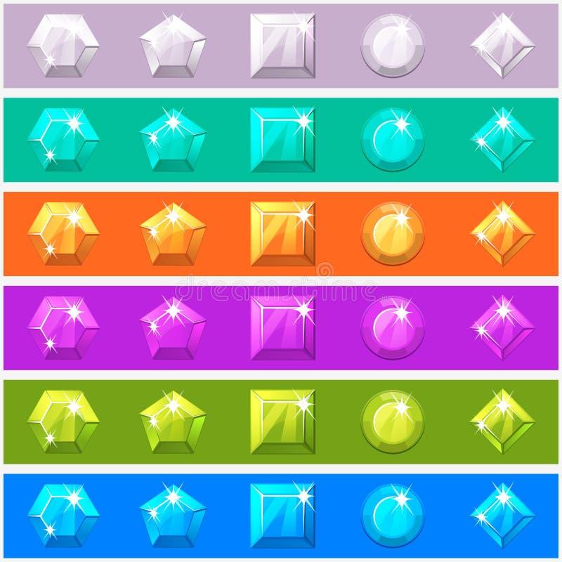 Diamants de bande dessinée réglés dans différentes couleurs editable illustration stock