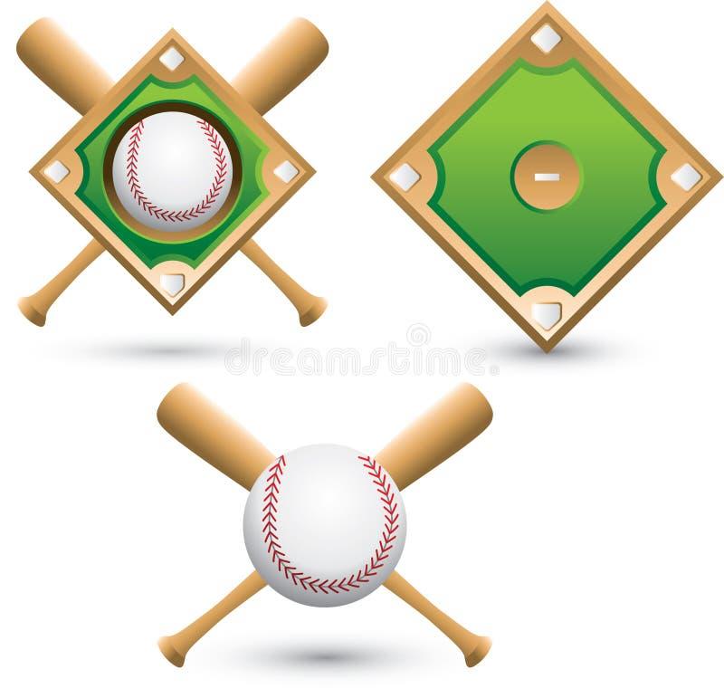Diamants de base-ball, billes, et 'bat' illustration de vecteur