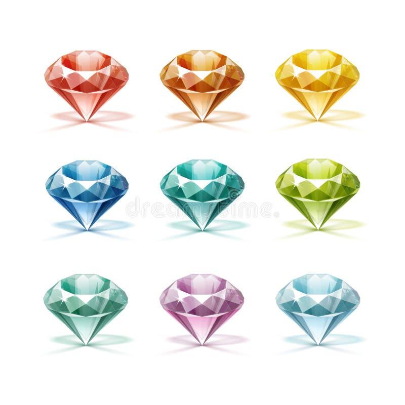 Diamants rouges verts jaune-orange pourpres lilas colorés de turquoise bleue illustration libre de droits
