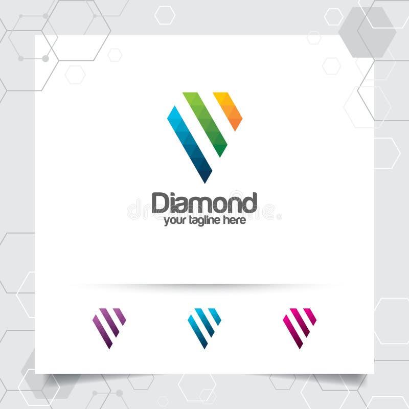 Diamantschmucklogo-Entwurfsvektor mit Konzept der digitalen Pixelfarbe Abstrakte Kristalledelsteinvektorillustration stock abbildung
