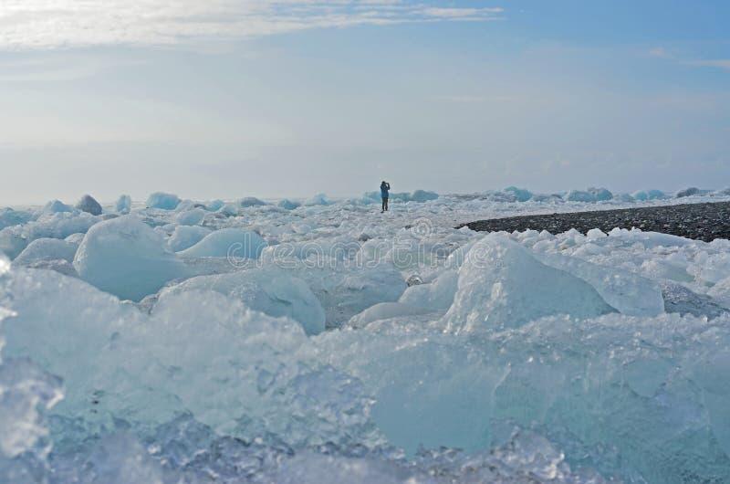 Diamantstrand, Eisstrand in Island lizenzfreie stockbilder