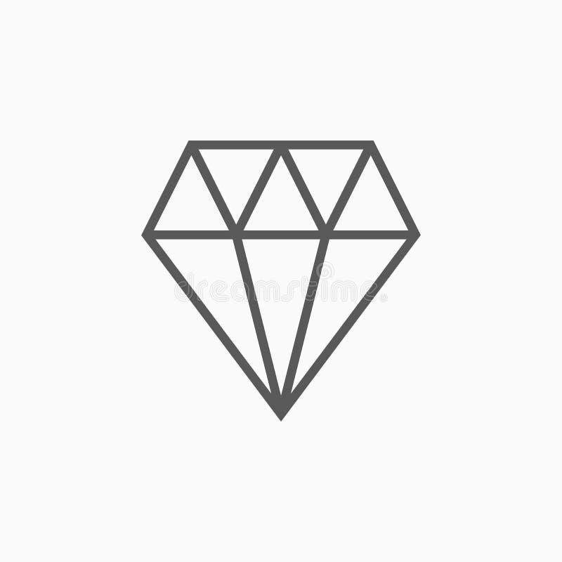 Diamantsymbol, ädelsten, kristall, juvel, smycken royaltyfri illustrationer