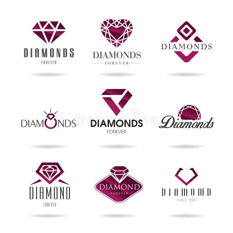 Diamantsymbolsuppsättning royaltyfri illustrationer