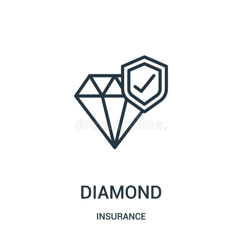 diamantsymbolsvektor från försäkringsamling Tunn linje illustration f?r vektor f?r diamant?versiktssymbol Linj?rt symbol stock illustrationer