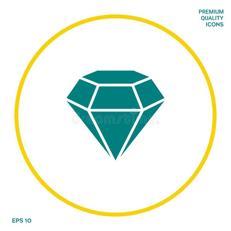 Diamantteken Juwelensymbool Gem Stone Vlak eenvoudig ontwerp royalty-vrije illustratie