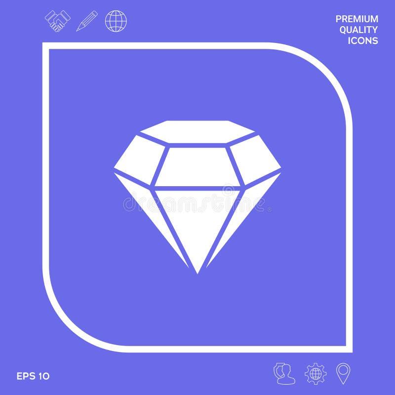 Diamantteken Juwelensymbool Gem Stone Vlak eenvoudig ontwerp stock illustratie