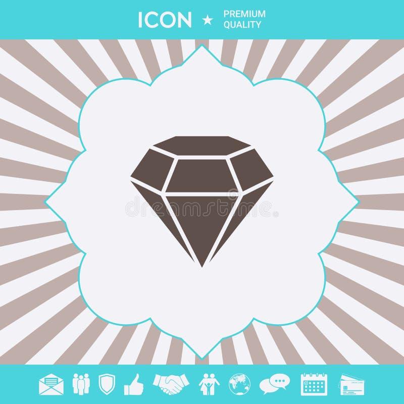 Diamantteken Juwelensymbool Gem Stone Vlak eenvoudig ontwerp vector illustratie