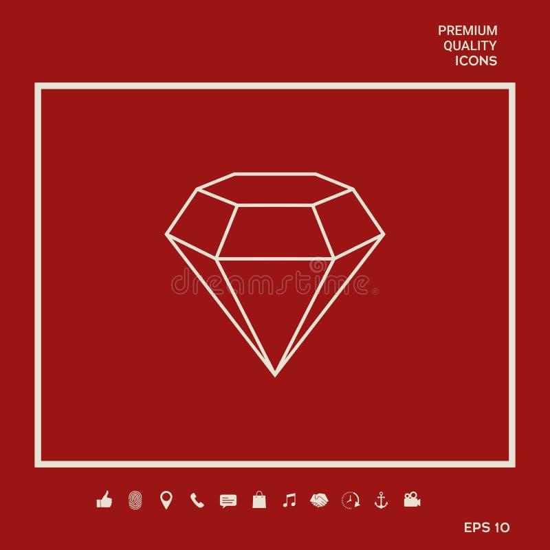 Diamantteken Juwelensymbool Gem Stone Vlak eenvoudig ontwerp - lijnpictogram vector illustratie