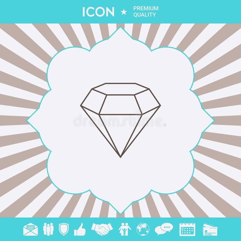 Diamantteken Juwelensymbool Gem Stone Vlak eenvoudig ontwerp - lijnpictogram royalty-vrije illustratie