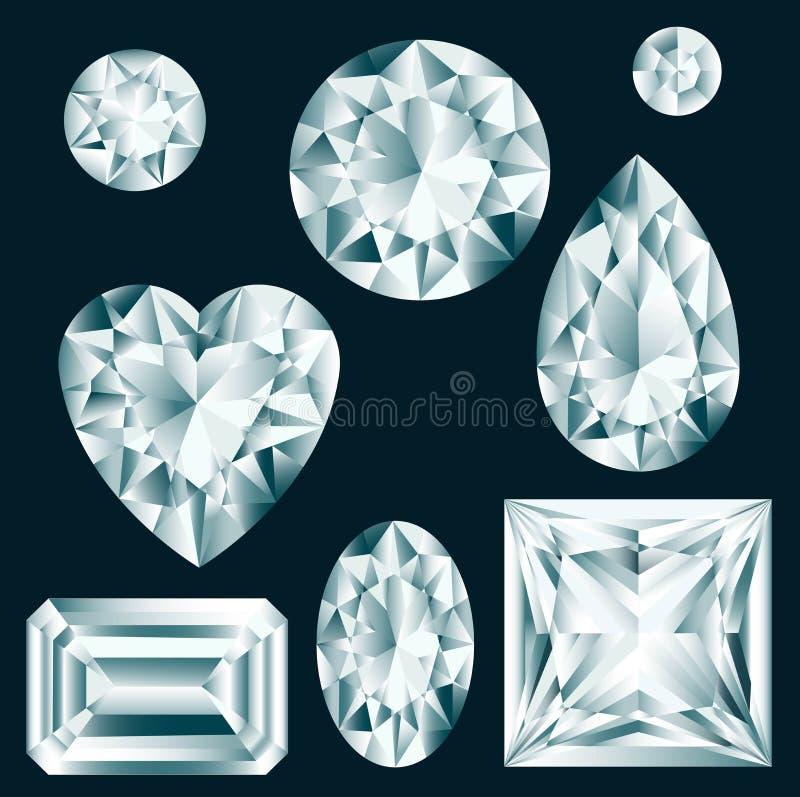 Diamantuppsättning vektor illustrationer