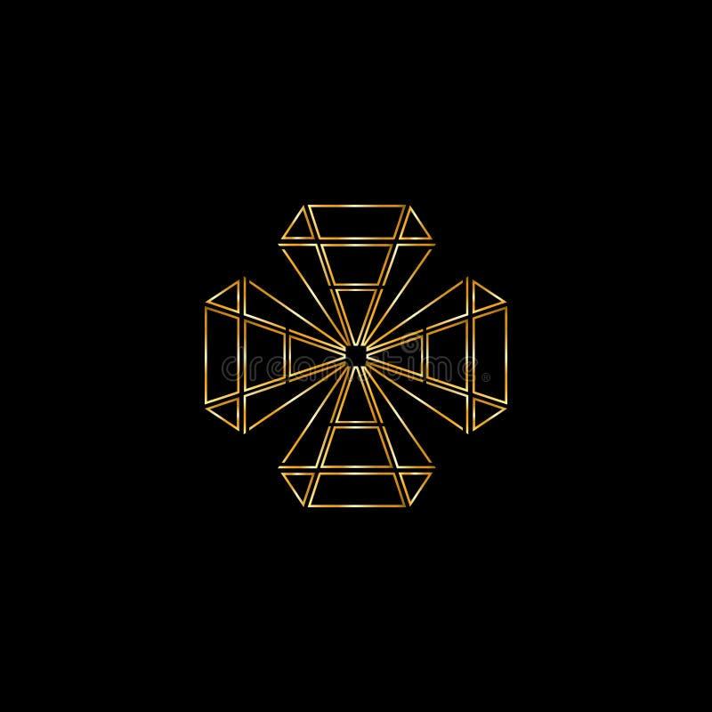 Diamantvektorlogo Smyckenlogo Guldsmedemblem Lyxiga g?vor shoppar royaltyfri illustrationer