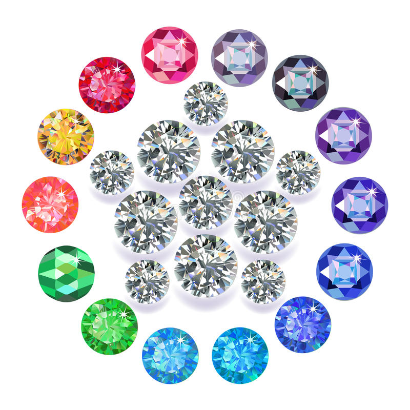 Diament & gemstones pentagonu broszka royalty ilustracja