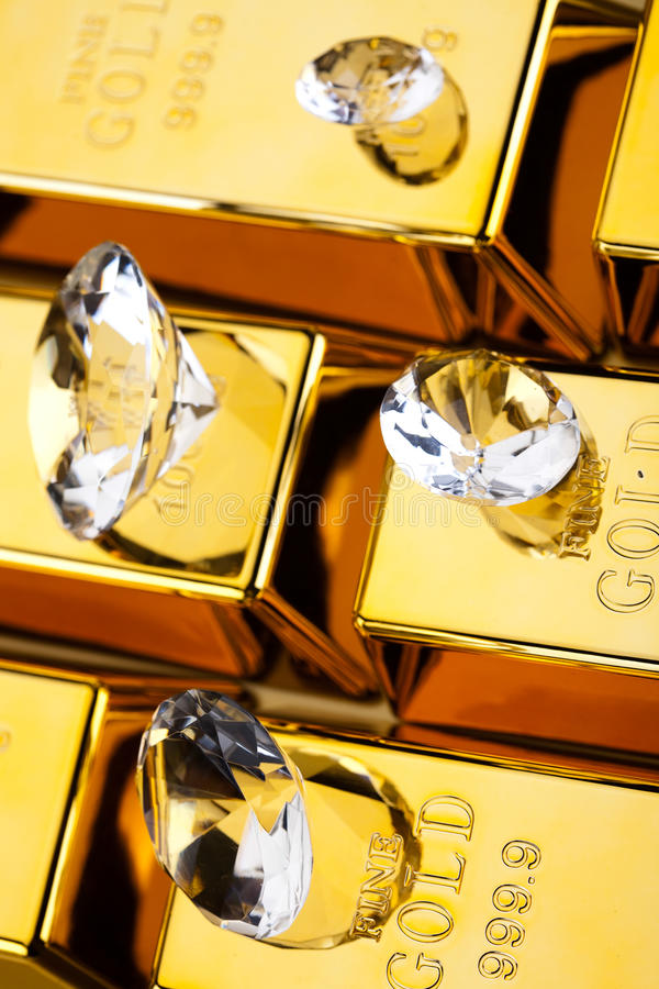 Diament i złoto, nastrojowy pieniężny pojęcie obrazy royalty free