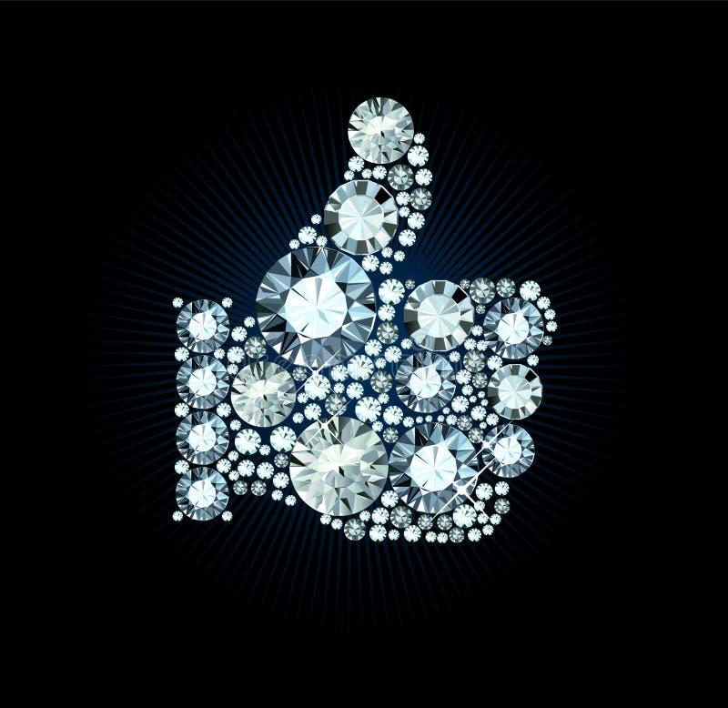 Diament Jak kciuk Up Podpisuje