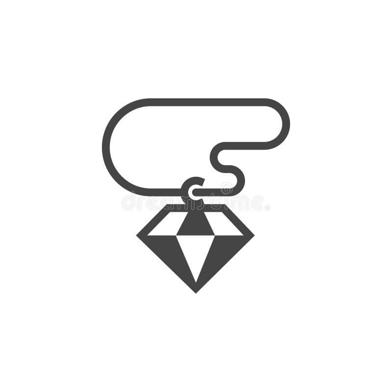 Diamentowa gluph ikona Prosty gemstone szablon Grafika znak biżuteria Gemowy ui element Sieci etykietka w płaskim projekcie wekto royalty ilustracja