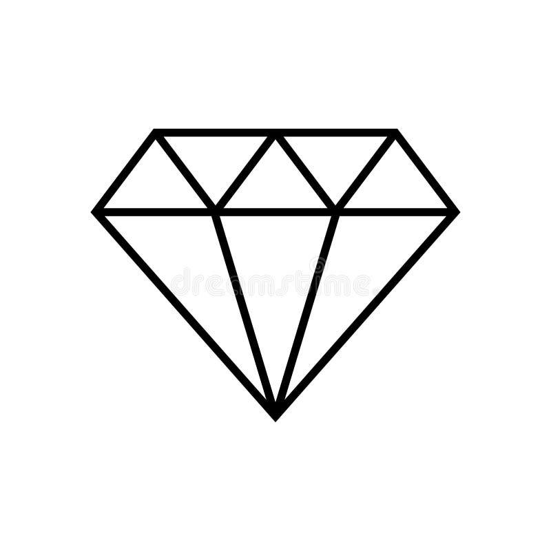 Diamentowa ikona i diamentowa kontur ikona Gemstone symbol, logo ilustracja r?wnie? zwr?ci? corel ilustracji wektora fotografia stock