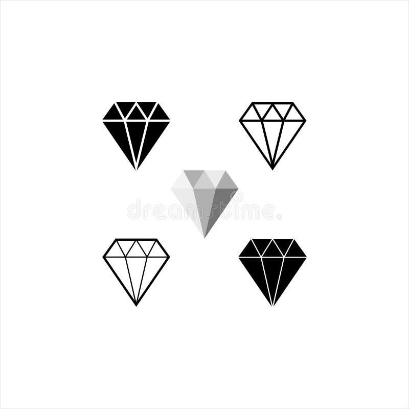 Diamentowa ikona Krystaliczny wektor Jewerly ilustracja ilustracji