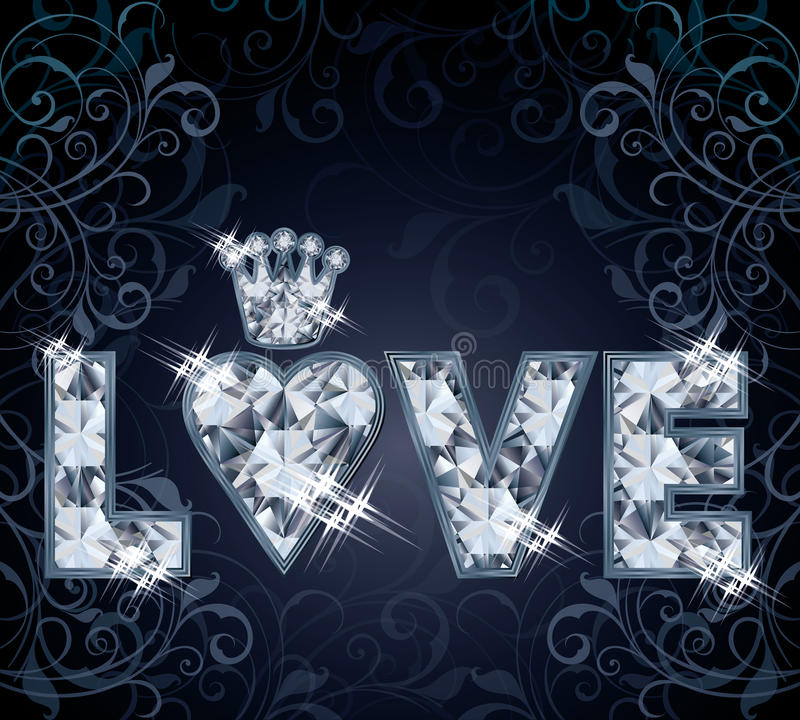 Diamentowa miłości karta ilustracji