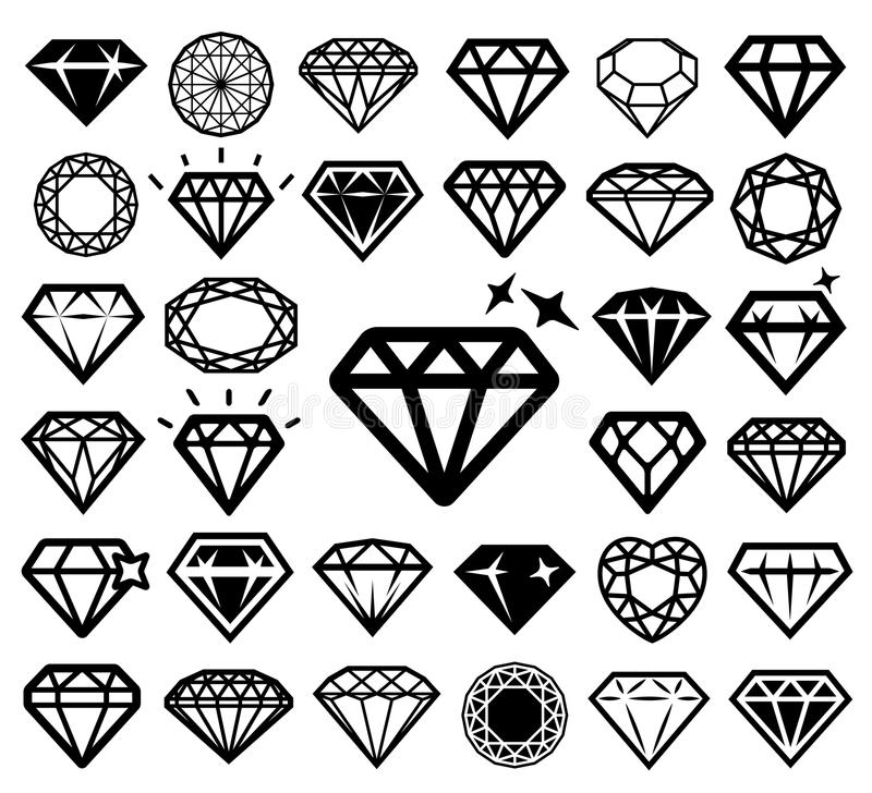 Diamentowe ikony Ustawiać royalty ilustracja