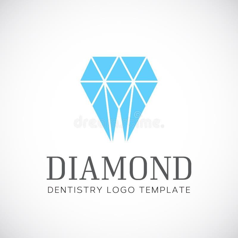 Diamentowego dentystyka zębu Abstrakcjonistyczny Wektorowy logo royalty ilustracja