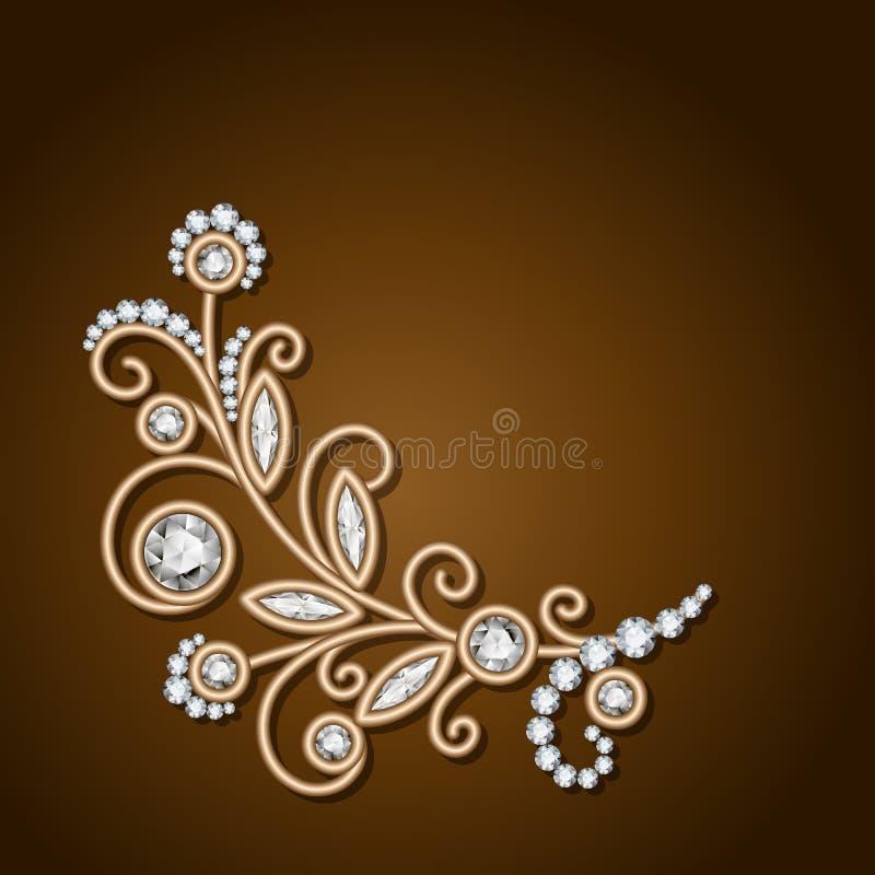 Diamentowej biżuterii złocisty kwiat, kwiecista dekoracja royalty ilustracja
