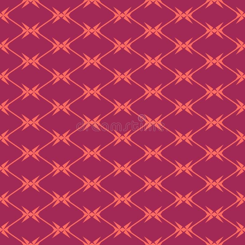 Diamentowej siatki bezszwowy wzór, geometryczna tekstura Burgundy i koralowy kolor ilustracji