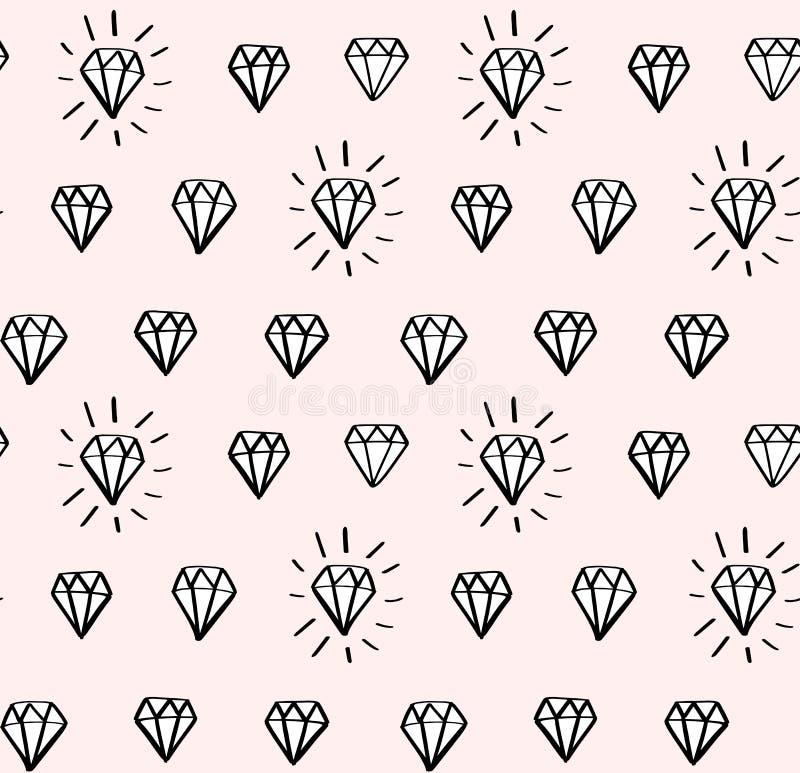 Diamentowy bezszwowy wektoru wzór z ręka rysującymi diamentami i klejnoty w doodle projektujemy Girly moda, modny tło royalty ilustracja
