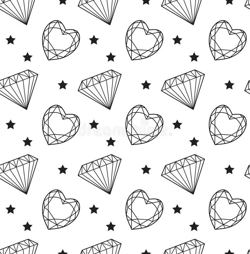 Diamentowy bezszwowy wzór, linia, nakreślenie, doodle styl Nowożytny modny niekończący się tło z biżuterią Klejnoty powtórkowi royalty ilustracja