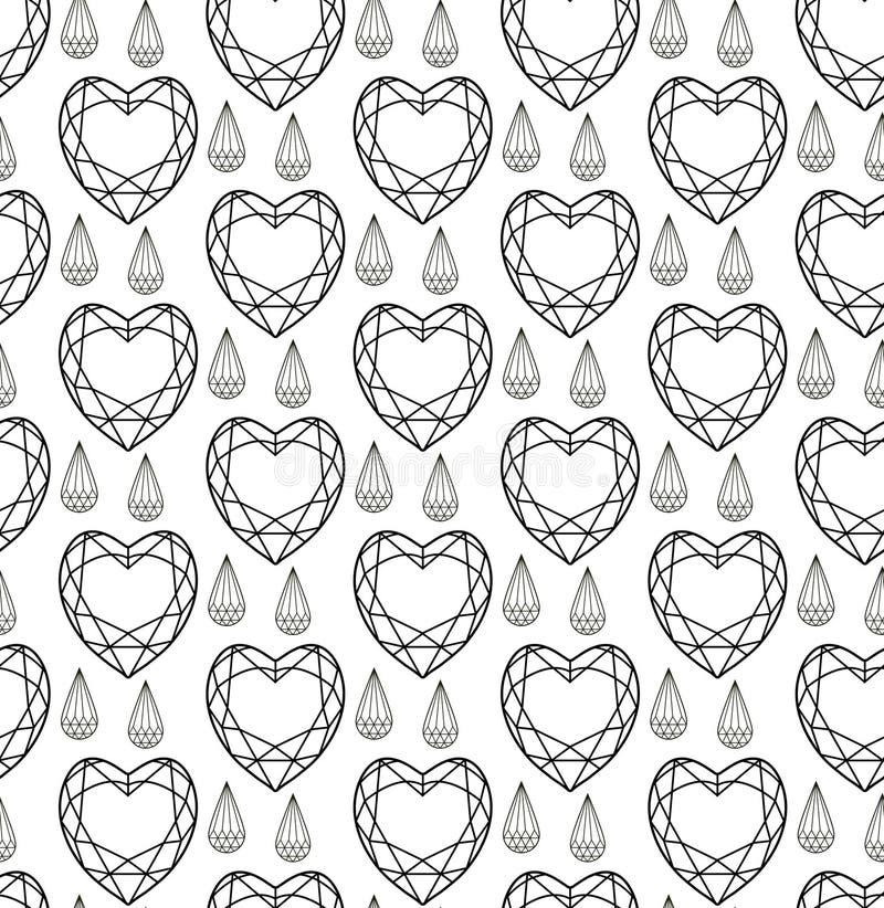 Diamentowy bezszwowy wzór, linia, nakreślenie, doodle styl Nowożytny modny niekończący się tło z biżuterią Klejnoty powtórkowi ilustracji