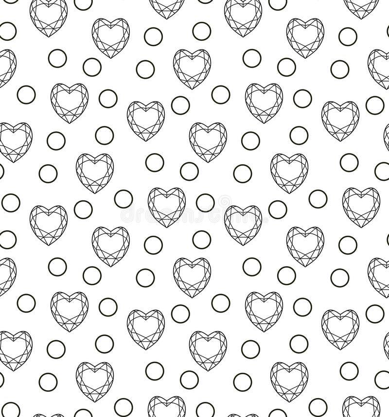 Diamentowy bezszwowy wzór, linia, nakreślenie, doodle styl Nowożytny modny niekończący się tło z biżuterią Klejnoty powtórkowi ilustracja wektor