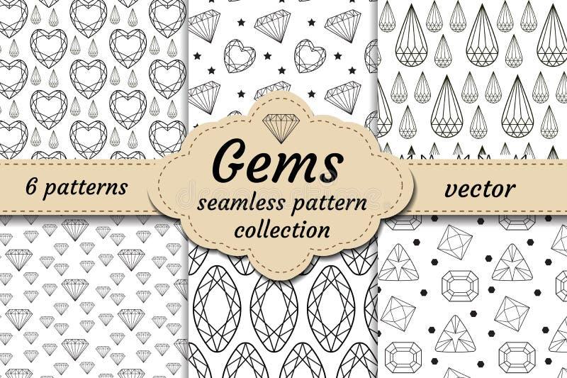 Diamentowy bezszwowy wzoru set, linia, nakreślenie, doodle styl Nowożytny modny niekończący się tło z biżuterią Klejnoty powtórko royalty ilustracja