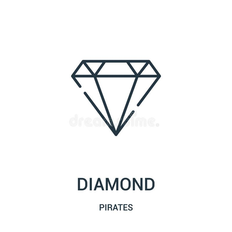 diamentowy ikona wektor od piratów inkasowych Cienka kreskowa diamentowa kontur ikony wektoru ilustracja Liniowy symbol dla używa ilustracja wektor