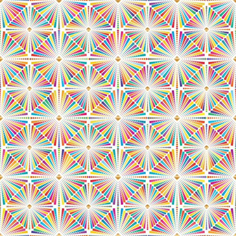 Diamentowy kształt więcej diamentowej kolorowej symetrii bezszwowy wzór ilustracji