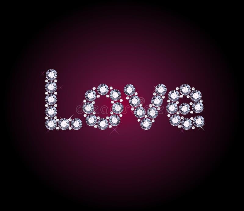 Diamentowy miłości słowo royalty ilustracja