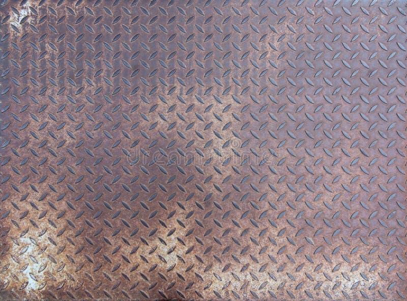 Diamentowy ośniedziały stalowy talerz - grunge tekstura zdjęcia stock