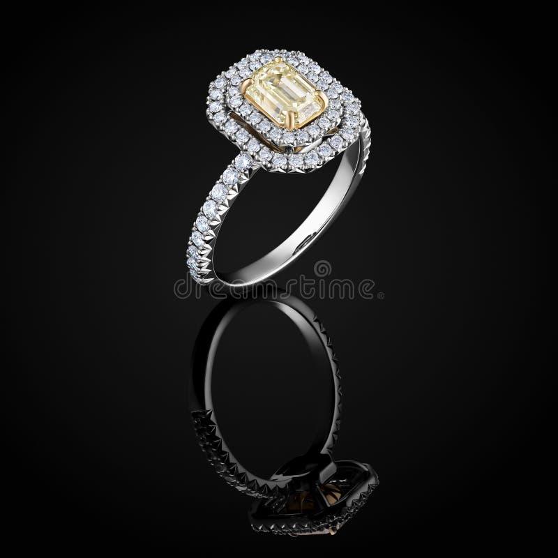 Diamentowy pierścionek z luksusowym żółtym iskrzastym gemstone odizolowywającym na czarnym tle z odbiciem zdjęcia stock