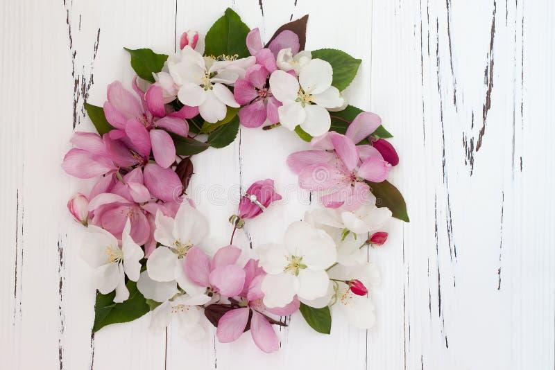 Diamentowy pierścionek z wiosny jabłonią kwitnie na białym starym drewnianym tle pojęcia sukni panny młodej portret schodów poślu zdjęcie royalty free