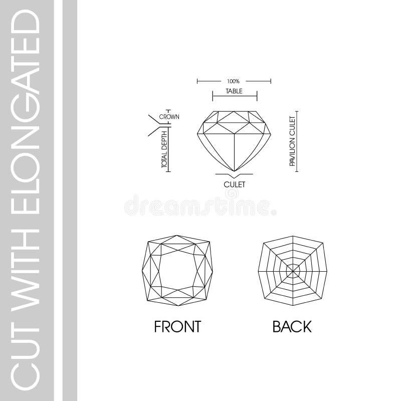 Diamentu cięcie z elongated zdjęcie stock