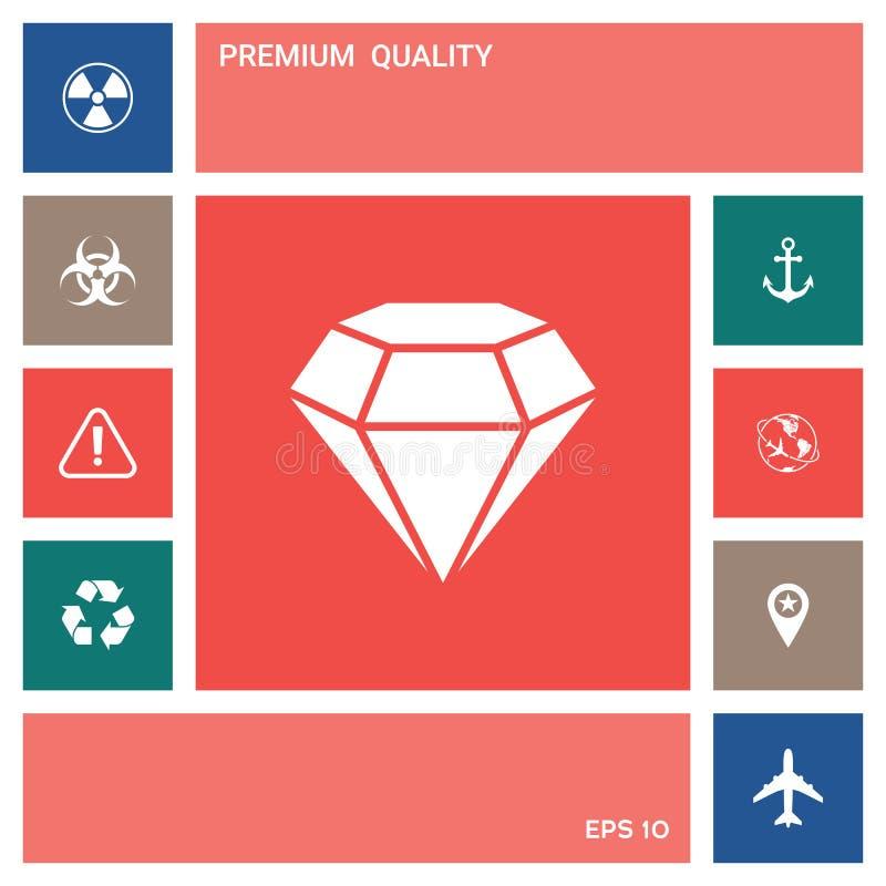 Diamentu znak Biżuteria symbol Klejnotu kamień Płaski prosty projekt ilustracji